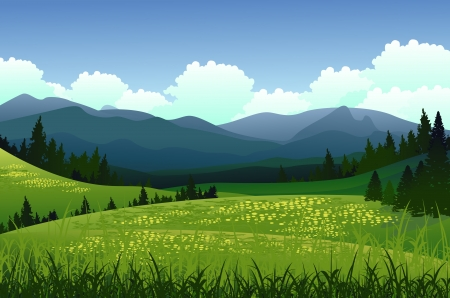 beauty landscape with pine forest and mountain background Illustration