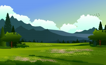 beauty landscape with pine forest and mountain background Ilustrace