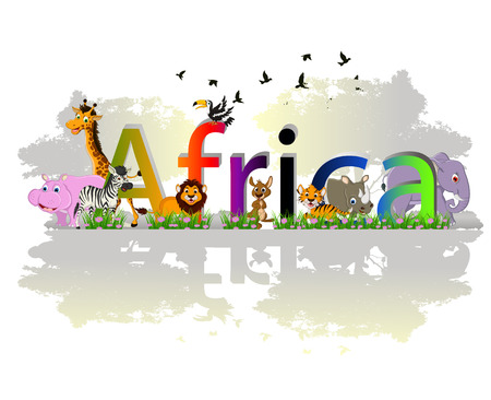 Africa poster background with animal wildlife Vector