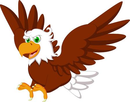 drawing an animal: Carino Aquila cartone animato Vettoriali