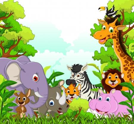 Tierwelt Cartoon mit Wald-Hintergrund