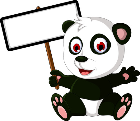 baby bear cartoon: cute cartoon panda posing with white board