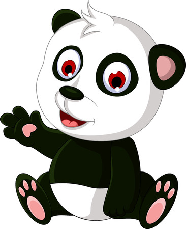 panda bear: cute cartoon panda posing Illustration