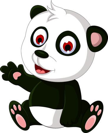 endangered: cute cartoon panda posing Illustration