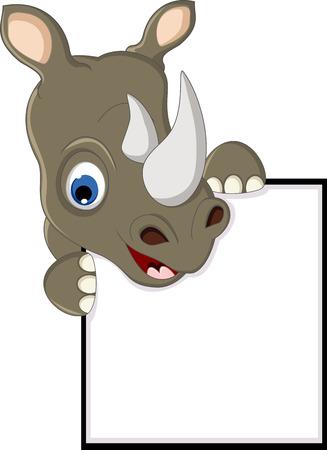 nashorn: Lustiges Nashorn mit leeren Zeichen