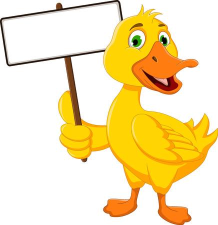 baby duck: divertente dell'anatra del fumetto che tiene segno in bianco Vettoriali