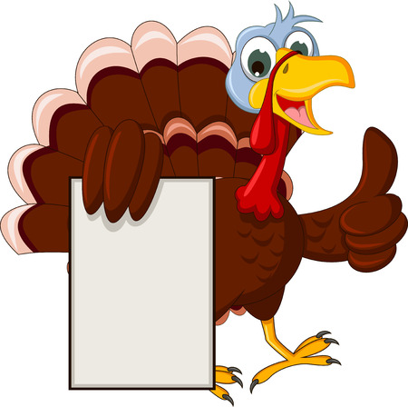 thanksgiving turkey: funny turkey cartoon posing with blank sign