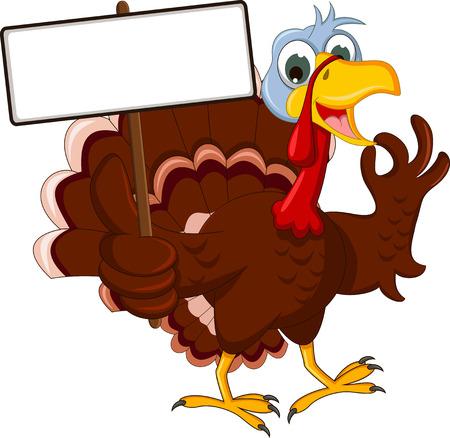 feast day: funny turkey cartoon posing with blank sign