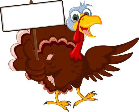 funny turkey: funny turkey cartoon posing with blank sign