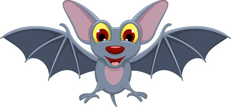 Cartoon Halloween bat flying Vector