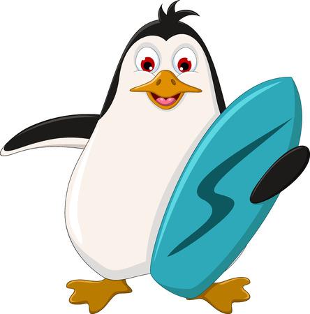 Cute penguin cartoon holding surfboard Stock Vector - 23298397