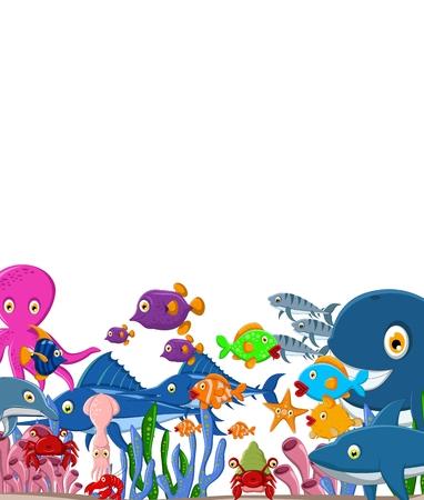 海の生活漫画背景のイラスト  イラスト・ベクター素材