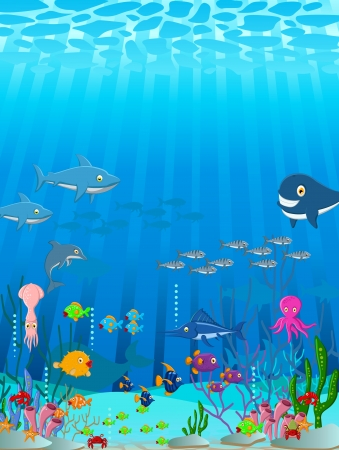 illustration of Sea life cartoon background Vector