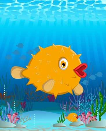 bloat: Cartoon blowfish Illustration