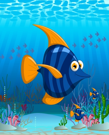 angel fish cartoon on undersea Vector