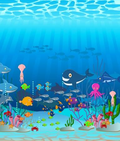 manta: illustration of Sea life cartoon background