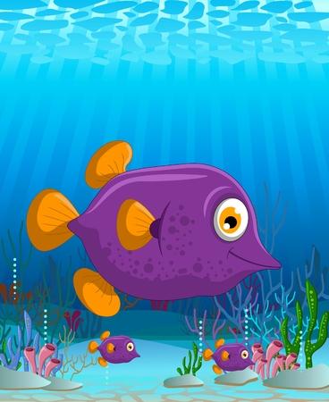 soplar: Golpe de dibujos animados lindo pescado