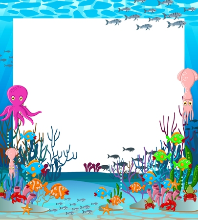 illustration of Sea life cartoon background with blank sign Иллюстрация