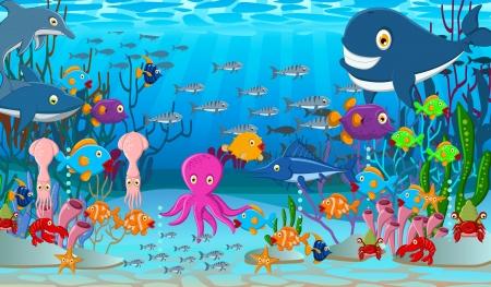 illustratie van Sea life cartoon achtergrond