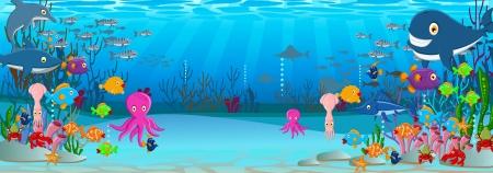 illustration of Sea life cartoon background