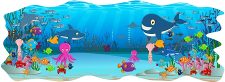 illustration of Sea life cartoon background Stock Vector - 23547826