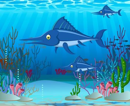 algas marinas: historieta marlin con el fondo de la vida marina Vectores