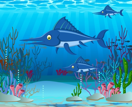 sea life: marlin cartoon with sea life background