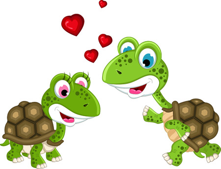 happy couple turtle cartoon Vector