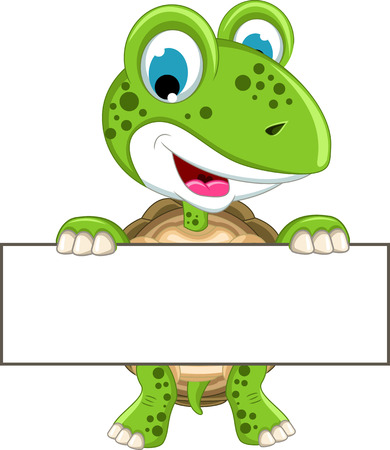 curious: turtle cartoon with blank sign