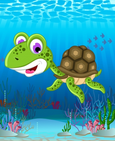 sea turtle cartoon Vector