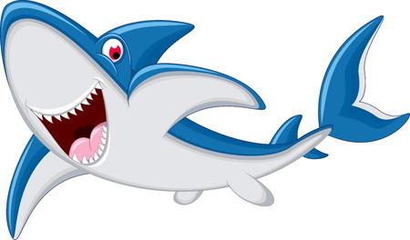 vague ocean: bande dessin�e de requin souriant