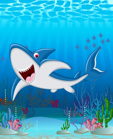 shark cartoon smiling Vector