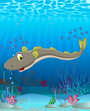 illustration of Electric eel cartoon Vector