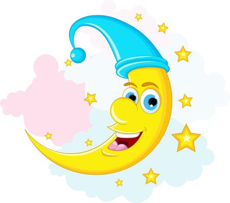 luna caricatura: Estrella Y La Luna de dibujos animados Vectores