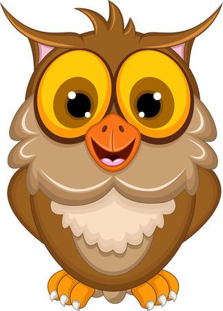 drawing cartoon: cute owl cartoon posing