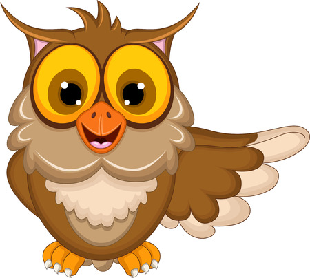 knowledge clipart: cute owl cartoon waving