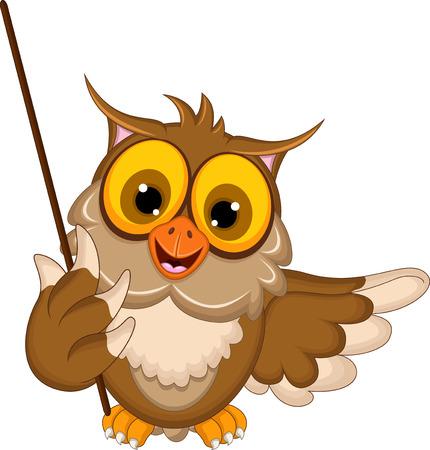 head wise: cute owl cartoon holding blank stick Illustration