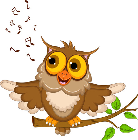 cute owl cartoon singing Vector