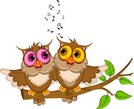 cute couple owl cartoon singing Vector