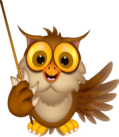 cute owl cartoon holding blank stick Vector