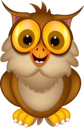 cute owl cartoon posing