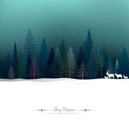 Winter Christmas trees Vector