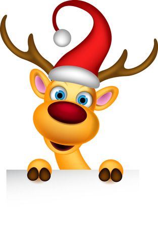 nosed: reindeer and Santa hat with blank sign Illustration