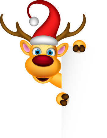 reindeer and Santa hat with blank sign Vector