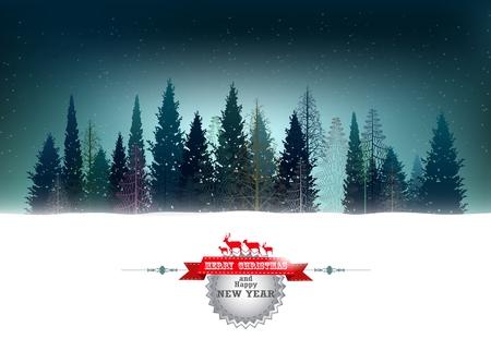 Ilustración de fondo de Navidad con el fondo de los bosques de pino Ilustración de vector