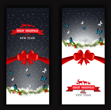 unfocused: Christmas and happy new year banner with butterfly background Illustration