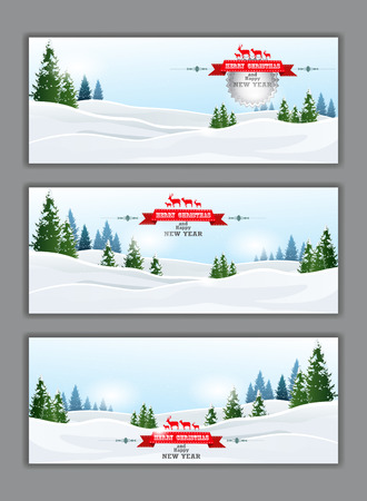 happy new year banner: Christmas and happy new year banner with pine forest background