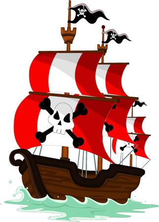 ships at sea: pirate ship cartoon
