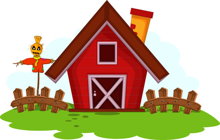 Cartoon red barn for you design Vector