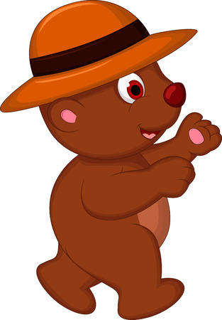 cute brown bear cartoon with hat walking Stock Vector - 27596214